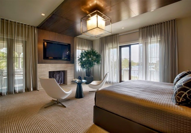 Bedroom Ceiling Designs With Large Wood Ceiling Panels