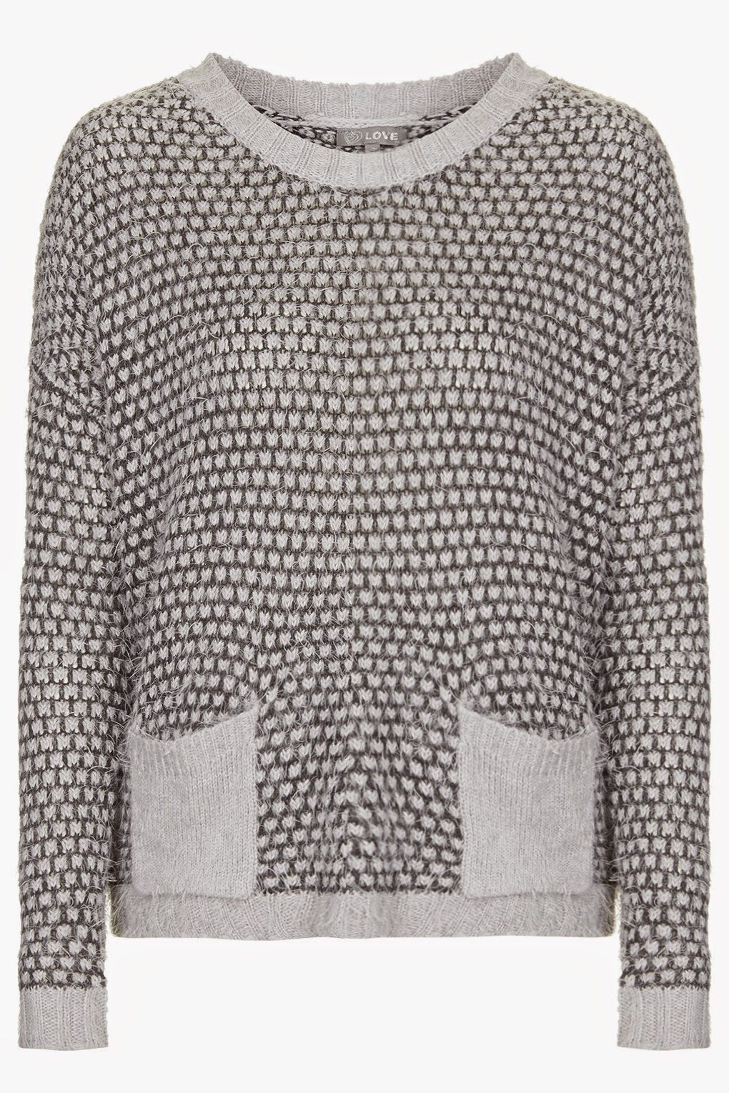 grey jumper with pockets