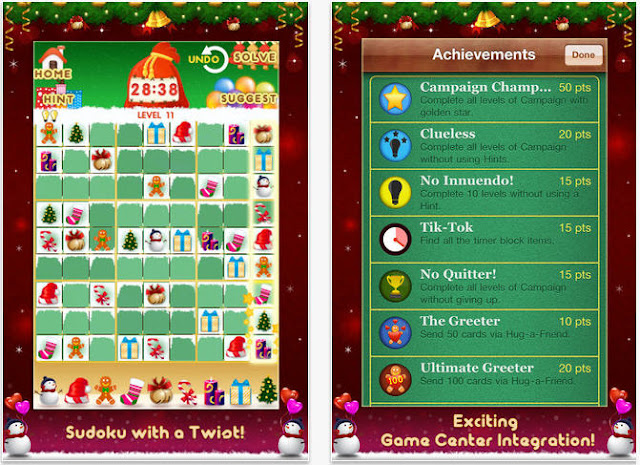 Christmas Sudoku screenshot