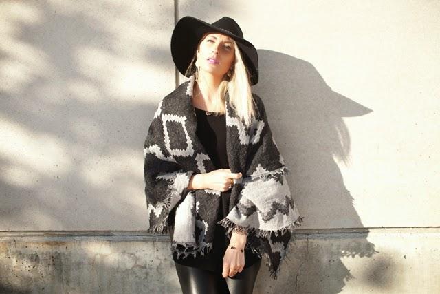 Aritzia Blanket Scarf, All Saints Leather pants, Rag & Bone boots, Floppy Hat