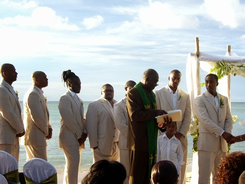 groomsmen at beach wedding