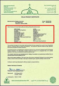 Sijil Halal Produk Shaklee