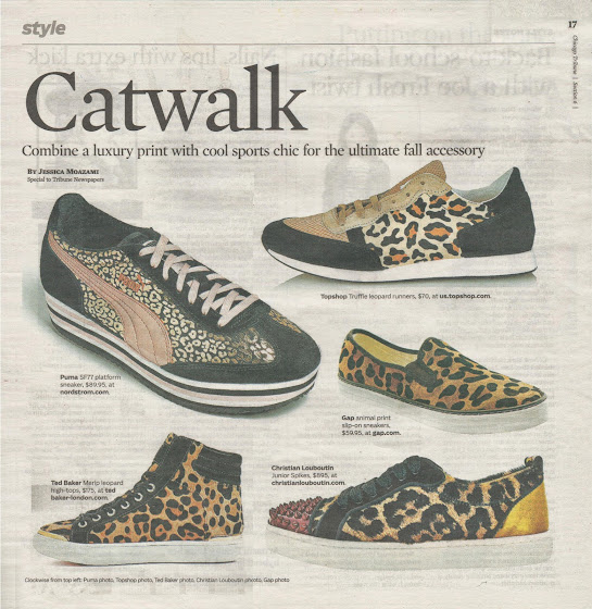 Catwalk, leopard print sneakers for the fall by Jessica Moazami for the Chicago Tribune