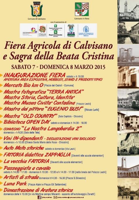 Fiera Agricola e Sagra della Beata Cristina 7 e 8 Marzo Calvisano (BG)