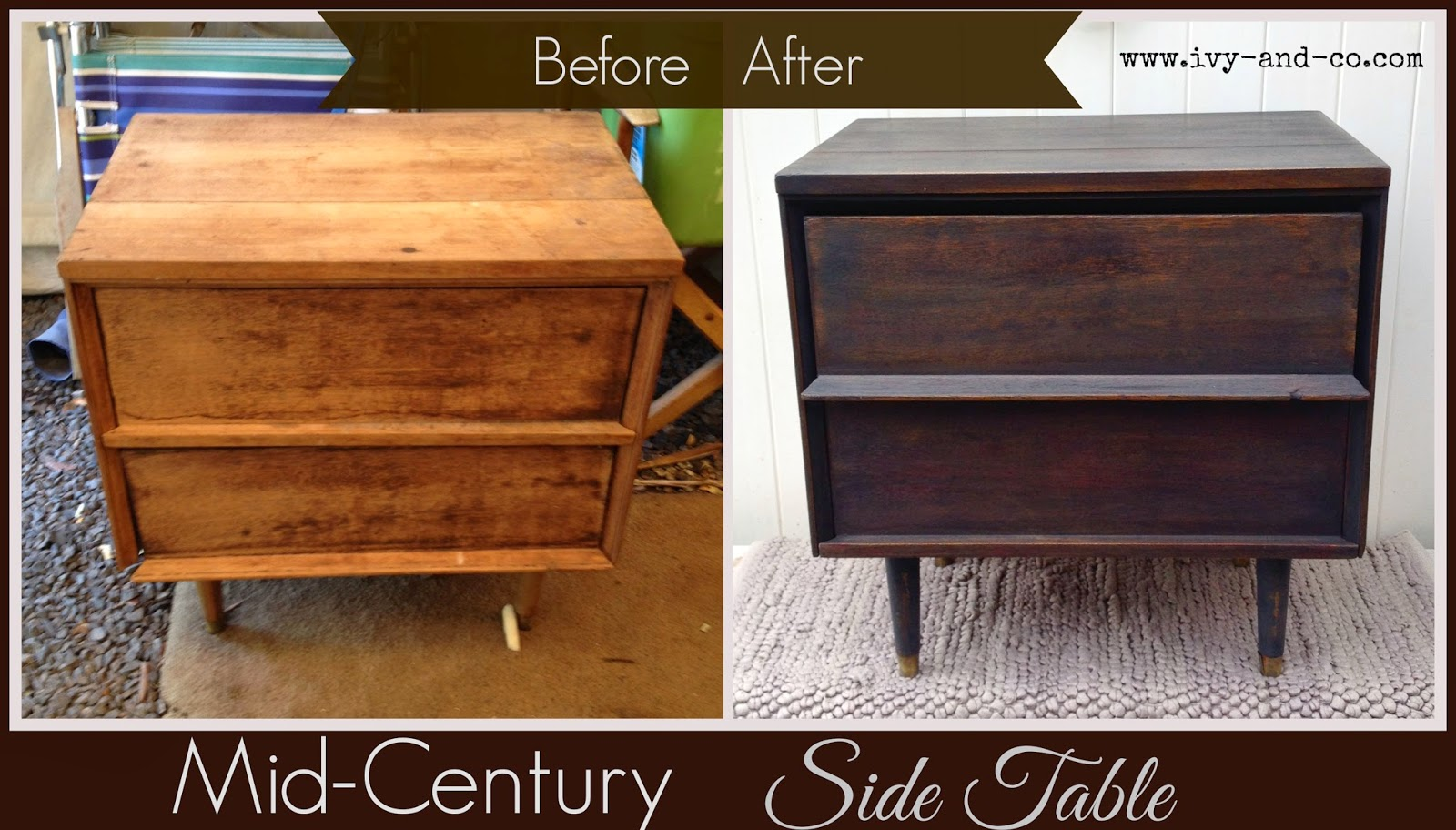 black DIY mid-century side table before and after