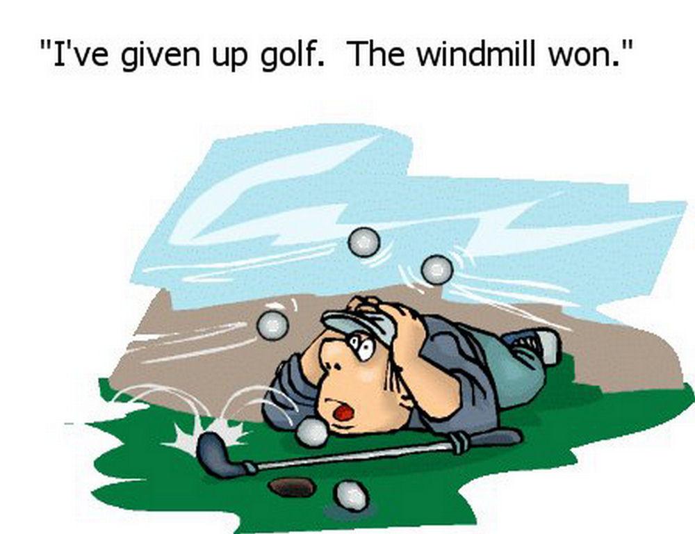 golf cartoon. Giving up golf - cartoon