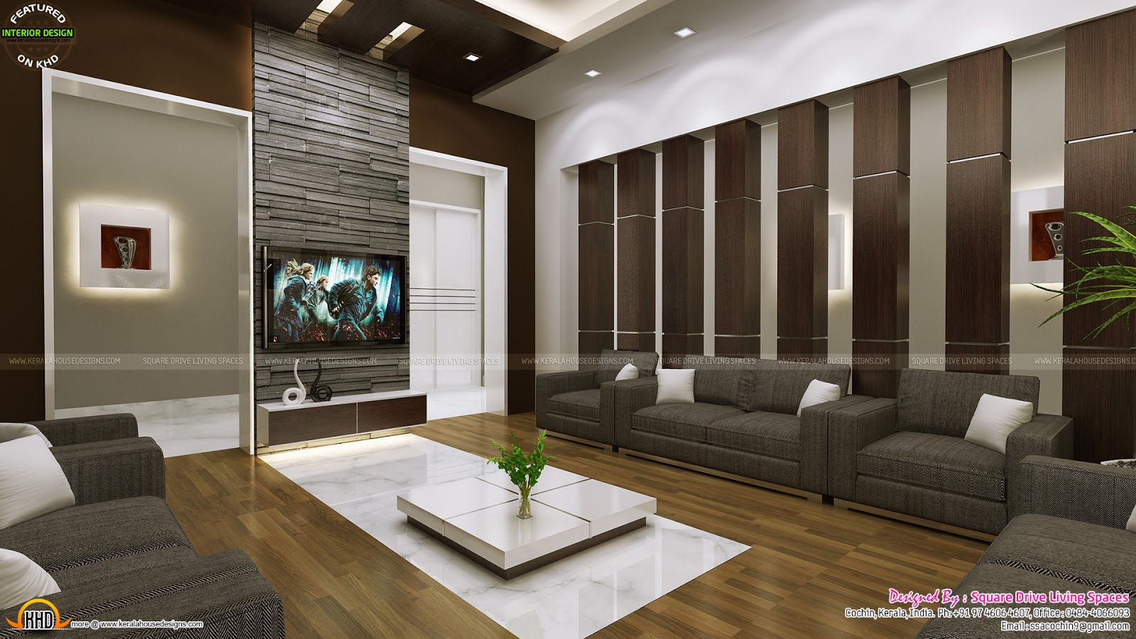 Attractive home interior ideas kerala home design and for Home interior drawing room