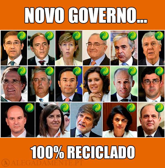 Imagens dos 17 ministros do novo governo de Pedro Passos Coelho - Novo Governo, 100% Reciclado