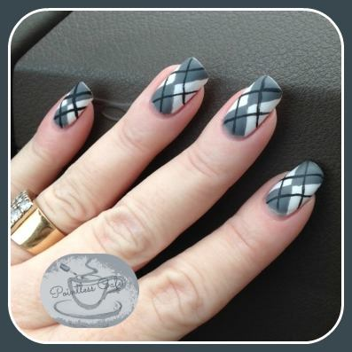 13 Days Of January Nail Art Challenge Monochromatic Argyle