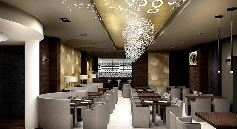 Restaurant View 05. The Golden Club Restaurant & Dance design by Somerset Harris