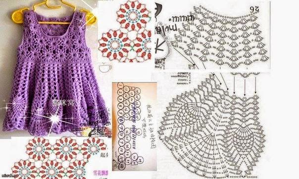 Vestido de niña tejido al crochet