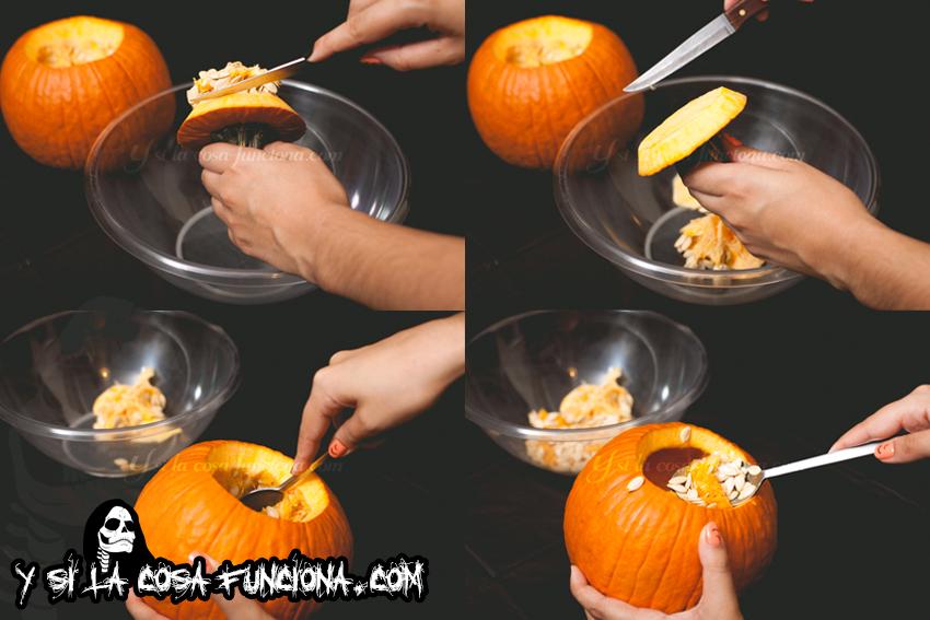 Vaciar calabaza cuchara reservar pipas