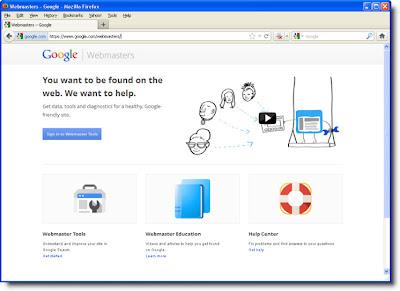 Homepage Google webmaster