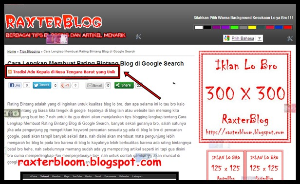 Cara Membuat Slider Teks Artikel Terbaru Diatas Postingan Blog raxterbloom.blogspot.com