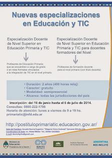 Inscripciones abiertas para las Especializaciones docentes en Educación Primaria y TIC