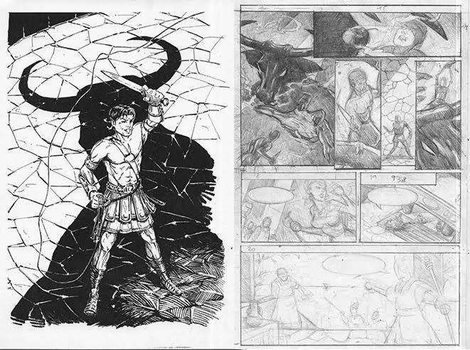 Minotaure : couverture encré et esquisse page 3