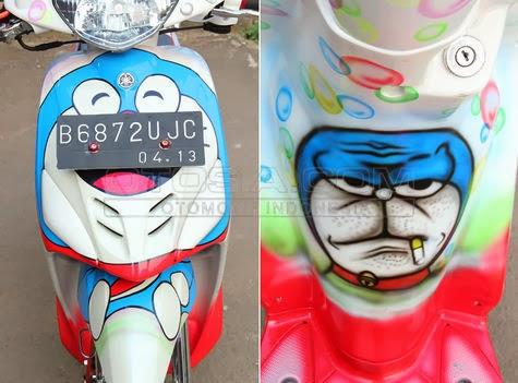 Foto Modifikasi Mio 2008 Ala Kartun Doraemon Terbaru