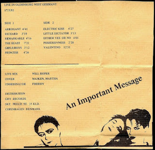 Unknown Gender - An Important Message  (1982) + Boys/Girls / Arrogant  (1982)