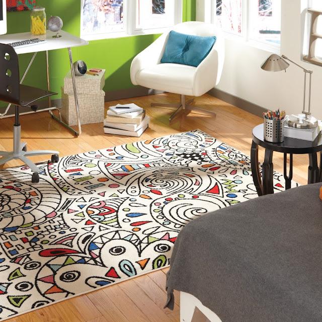 area rug on dorm floor