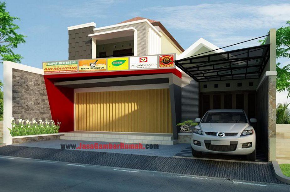 rancangan rumah toko dari depan