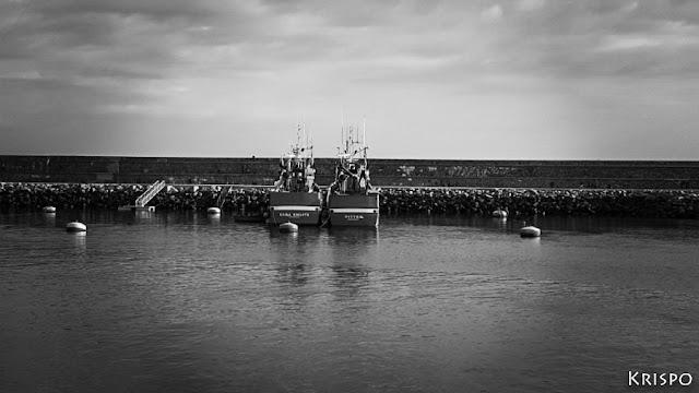 dos barcos pesqueros atracados en el puerto de hondarribia