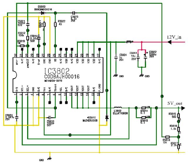 Hình 49 - Mạch hạ áp từ 12V xuống 5V trên máy Panasonic TX-32LE