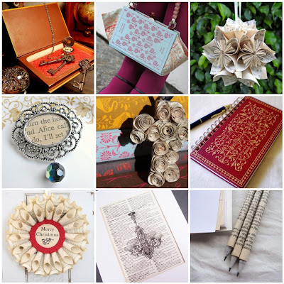 photo montage vintage book altered art brooch purse safe dictionary print pencils wreath journal ornament cross flower