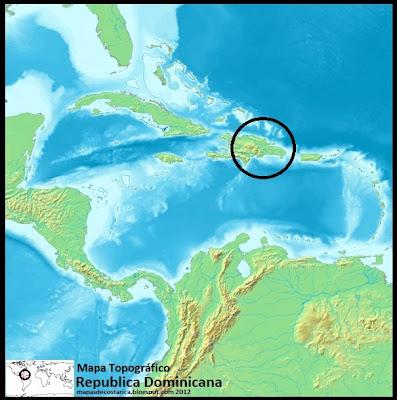 Mapa topográfico de República Dominicana en El Caribe