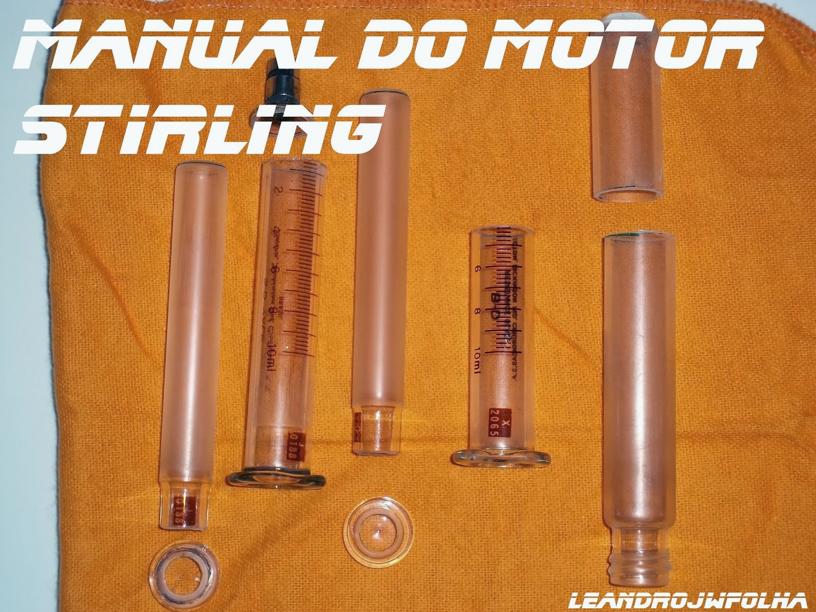 Manual do motor Stirling, seringas de vidro de 10 ml