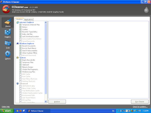 CCleaner initial screen