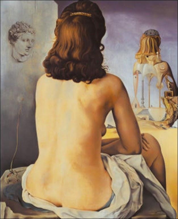 Dali - Ma femme nue regardant son propre corps devenir marches, trois vertèbres d'une colonne, ciel et architecture, 1945