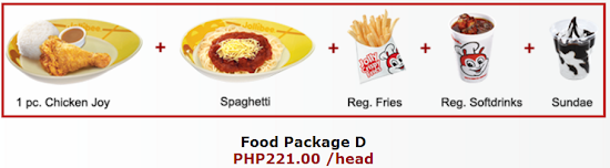 Jollibee party package D