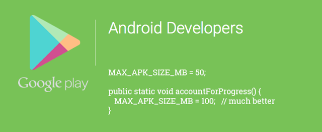 Google Ups APK Limit on Google Play to 100MB