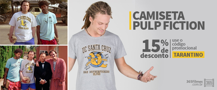 Banner da loja 365 filmes exibindo uma camiseta inspirada no filme pulp fiction