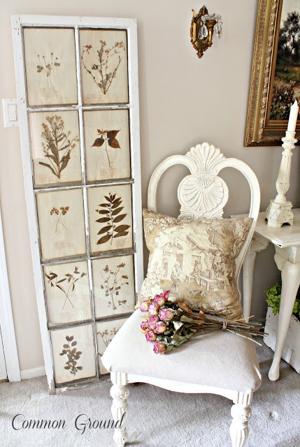 Lovely tone on tone vintage botanical art with an old window frame, by Common Ground, featured on I Love That Junk