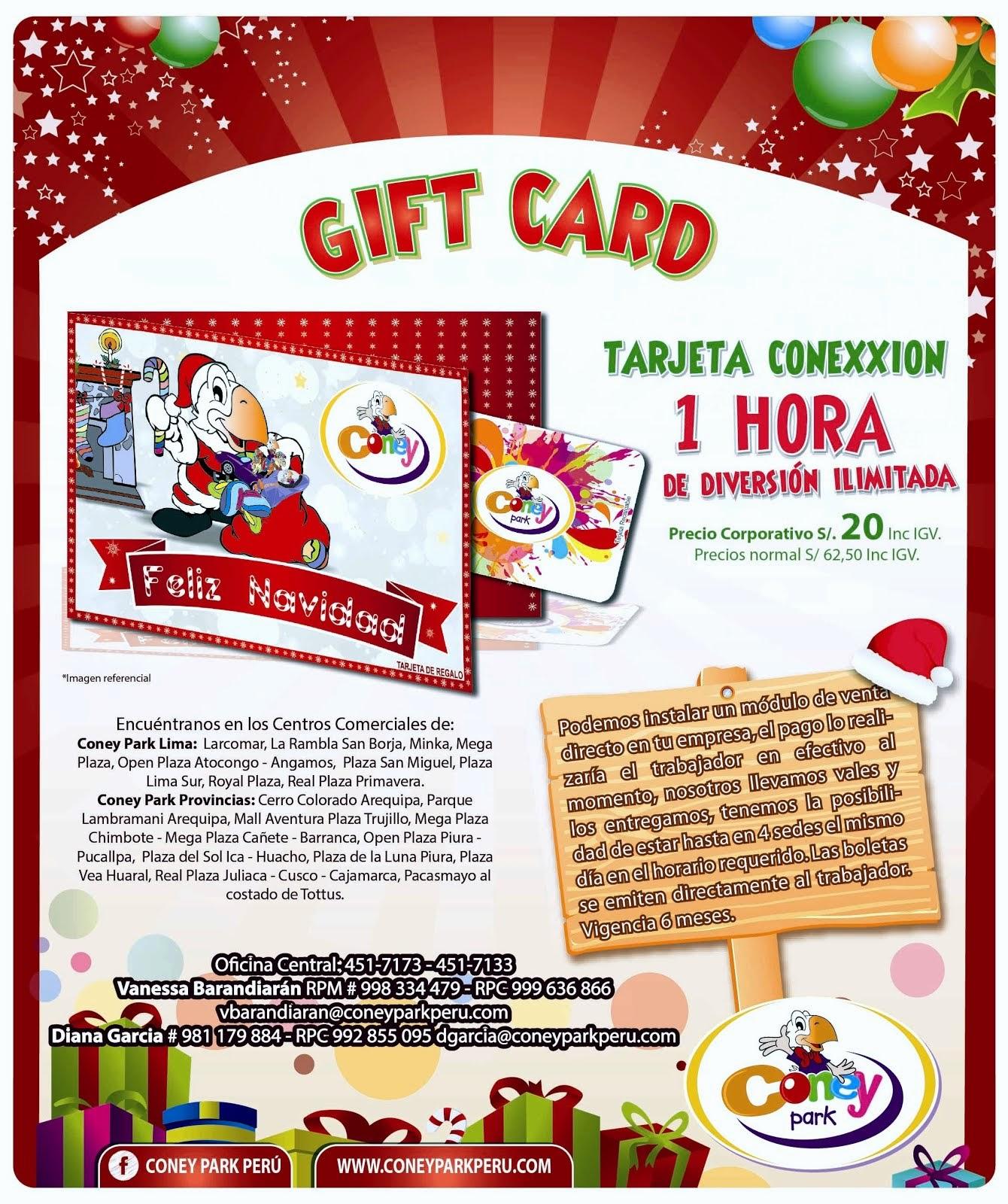 GIFT CARD - 1 HORA DE DIVERSIÓN ILIMITADA - CONEY PARK PERÚ
