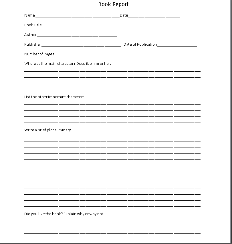 Printable 4th Grade Book Report Forms