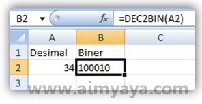 Gambar: Contoh penggunaan salah satu fungsi konversi bilangan (desimal ke biner) di Microsoft Excel