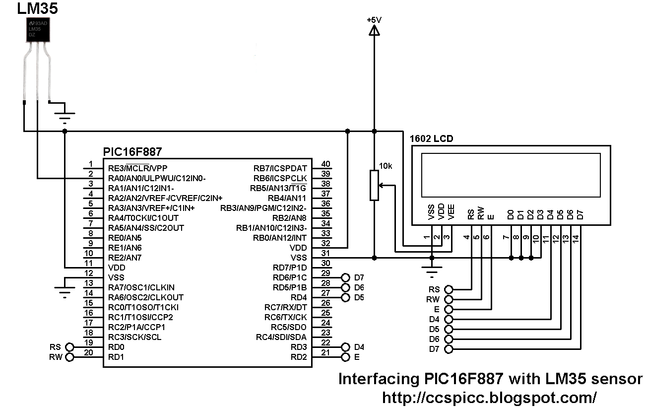 interfacing pic16f887 with lm35 temperature sensor rh ccspicc blogspot com simple temperature sensor circuit diagram using lm35 Temperature Probe Schematic