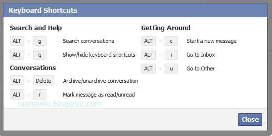 facebook new message keyboard shortcuts