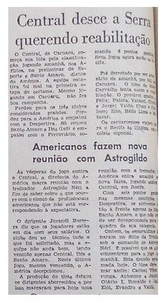 MEMÓRIAS ESMERALDINAS: América 3x0 Central em setembro de 1974