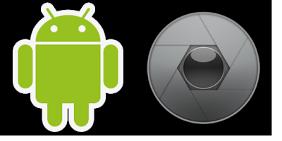 Logo di Android con diaframma di macchina fotografica