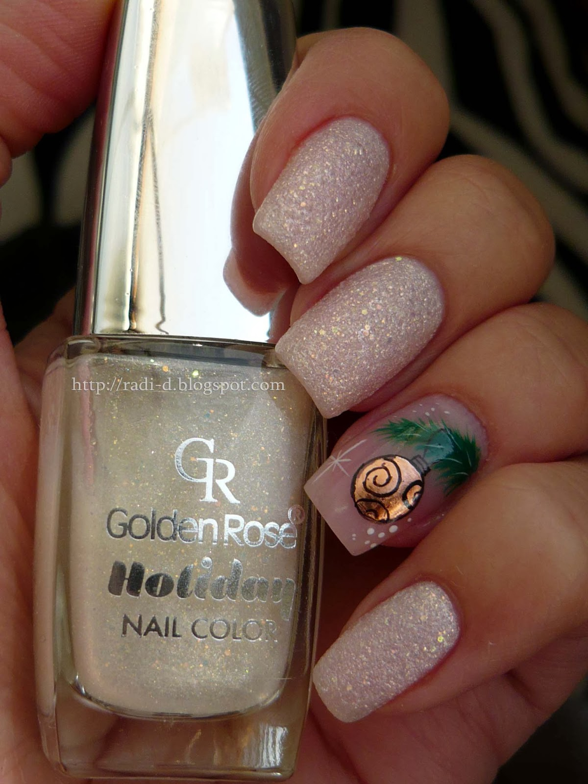 The christmas nail ornament - Golden Rose Holiday 70