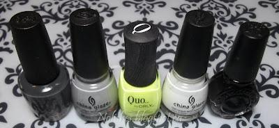 OPI 'Nein! Nein! Nein! OK Fine!', China Glaze 'Pelican Gray', Quo by Orly 'Limelight', China Glaze 'White on White', and Konad Special Polish in Black