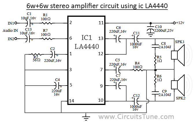 Stereo Amplifier Circuit using IC LA4440
