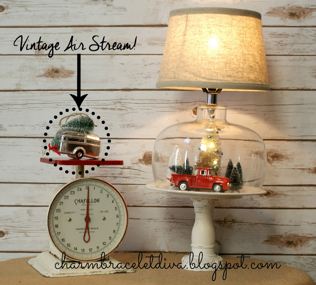 Thrifted Christmas cloche lamp decor Air Stream ornament