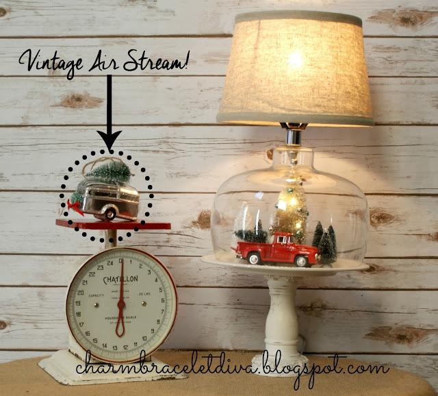 Thrifted Christmas cloche lamp decor Air Stream ornament
