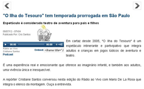 "Entrevista sobre ""O Ilha do Tesouro"""
