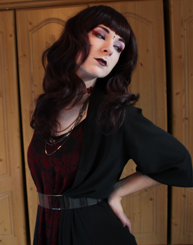 alternative model girl fashion goth witch witchy gothic blogger plum red brown wig purple lipstick lips red eyeshadow sugarpill new look boohoo starry star necklace outfit chiffon maxi cardigan morticia mortica adams vamp vampy vampire style perspex belt asos flocked devore velvet dress