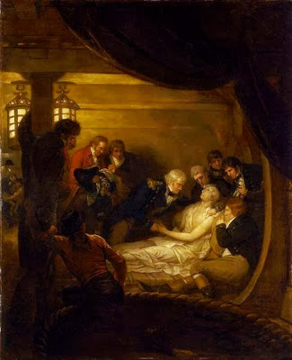 The Death of Lord Nelson in the Cockpit of the Ship 'Victory' by Benjamin West, 1808